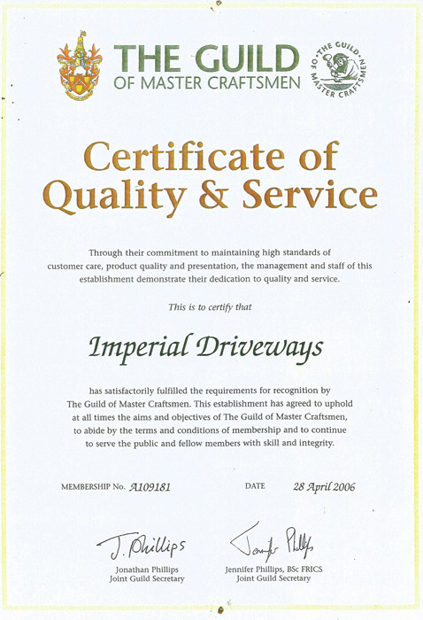 Imperial Driveways  - Certificate Of Quality and Service